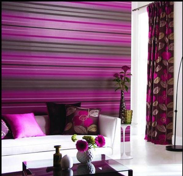 Wände wandgestaltung Farbideen  wohnzimmer streifen feminin