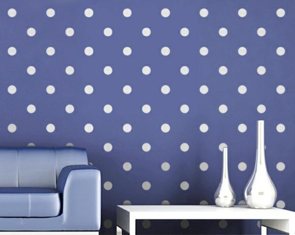 Farbpaletten niedlich vintage Wandfarben tupfen blau weiß