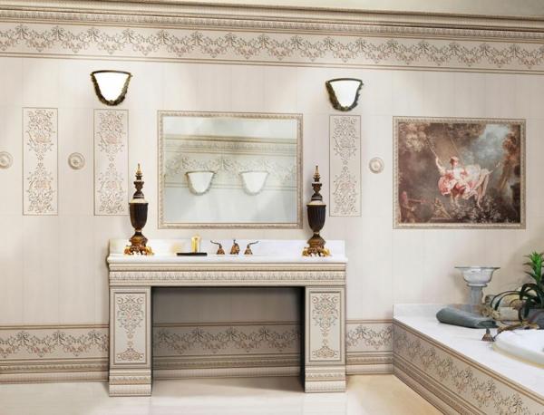 Fliesengestaltung Bad Badezimmer Bilder beige