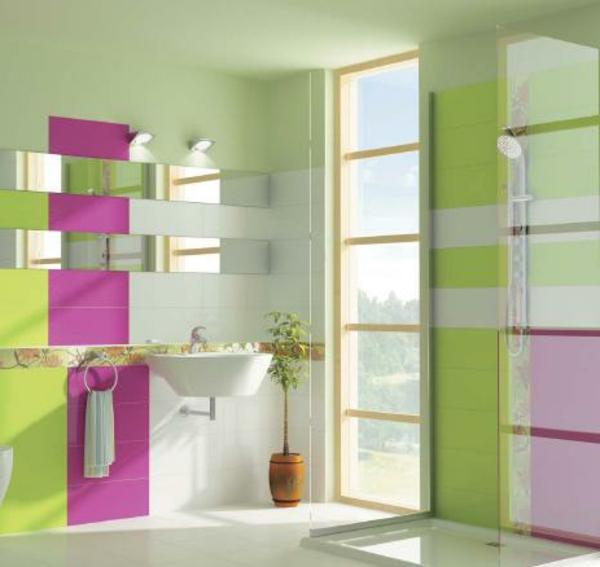 Fliesengestaltung im Bad Badezimmer Bilder grün feminine