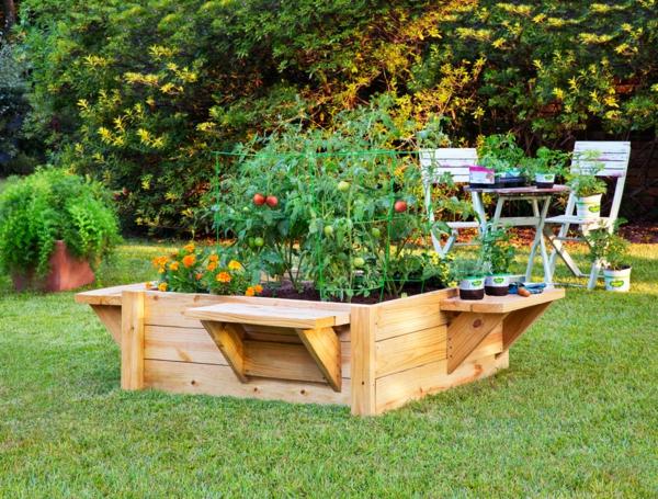Kräuterhochbeet selber originell Gemüse gras gartenbank