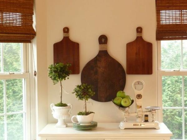 Küchenwandgestaltung bretter deko