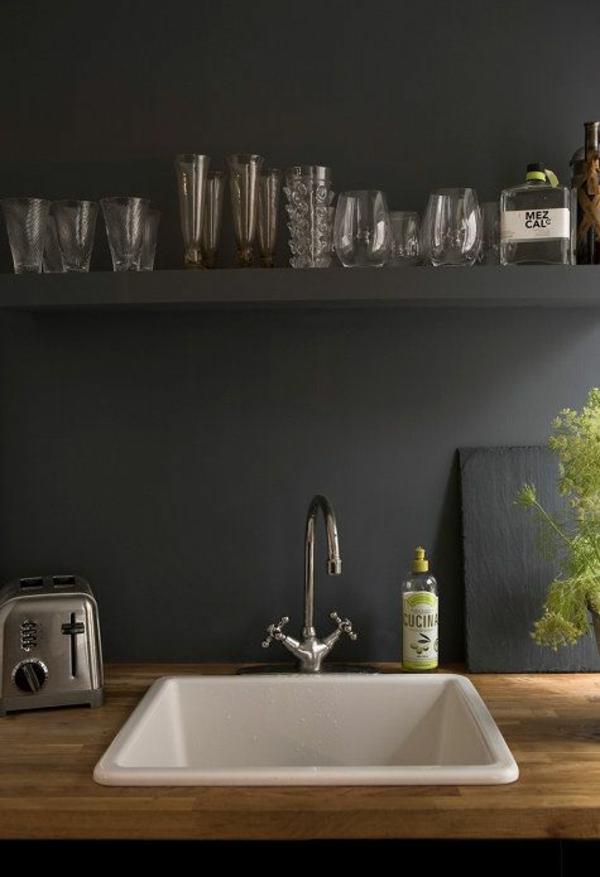 Küche wandgestaltung spritzschutz küche schwarz matt spüle