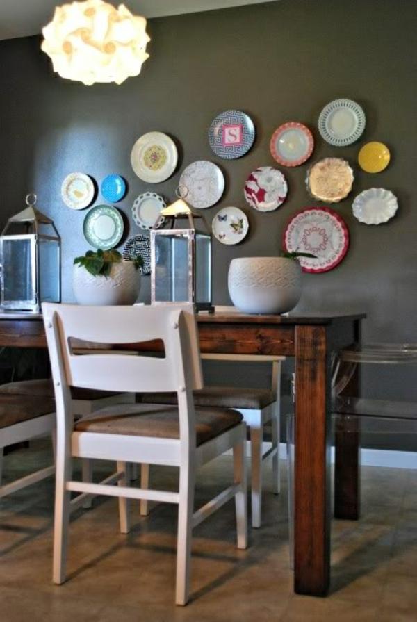 Küche wandgestaltung spritzschutz küche  teller
