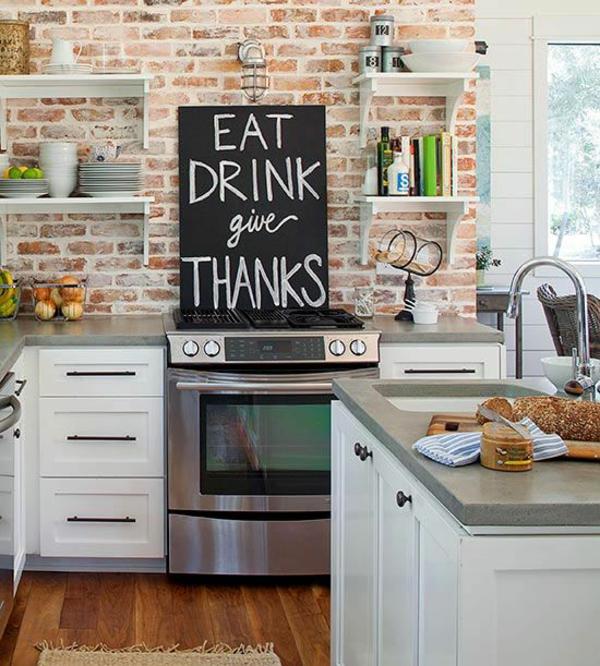 Küchenwandgestaltung spritzschutz küche ziegel wand