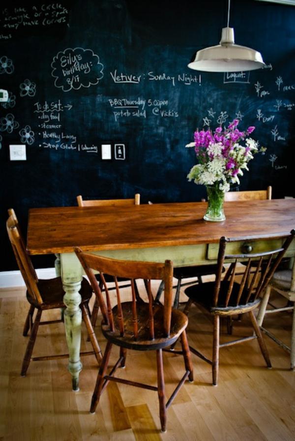 gestaltung tafel Küchenwand essstisch stühle