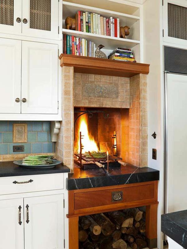 Kamine und Feuerstellen brennholz küche vintage