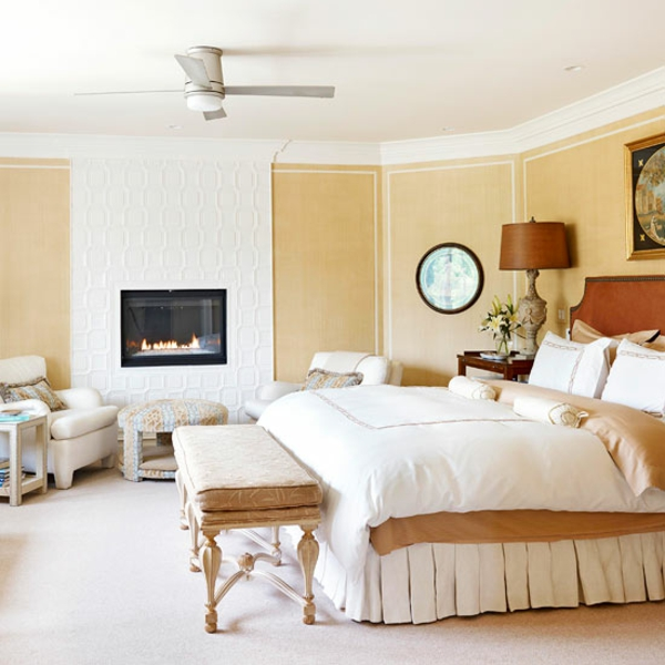 Kamine und Feuerstellen schlafzimmer bett tischlampe