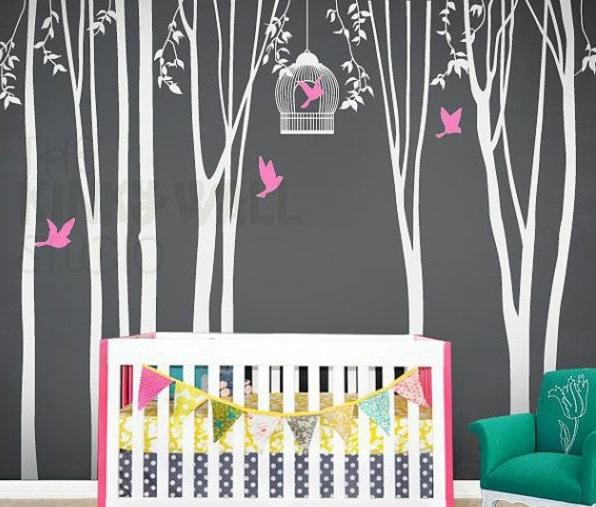 Ikea Folding Table Hong Kong ~ Kinderzimmerwände gestalten babyzimmer wandsticker wandtattoo schwarz