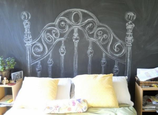 Kopfteile Bett wandfarben tafel schwarz klassisch
