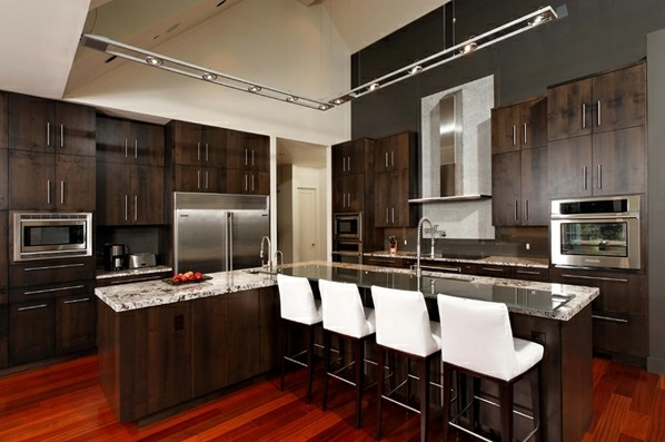 Small Kitchen Designs With Dark Floors And Beige Cupboards