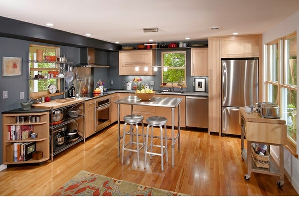L förmig moderne küchen holzmöbel tisch barhocker