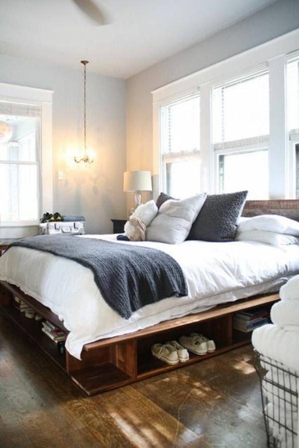 Möbel Europaletten schlafzimmer hoch bettgestell