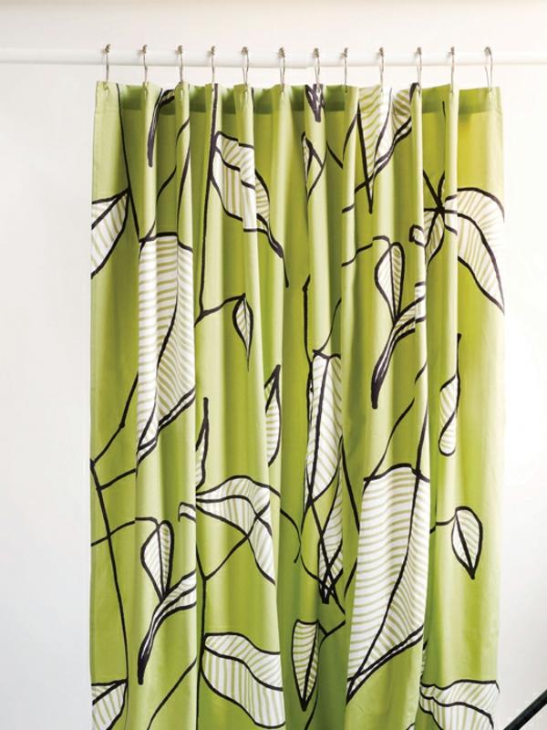 Marimekko Duschvorhang blätter grün weiß