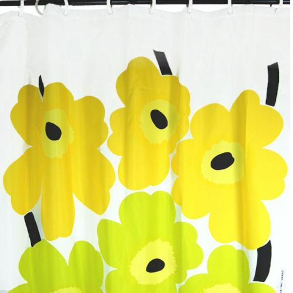 Duschvorhang gelb blümchen muster Marimekko