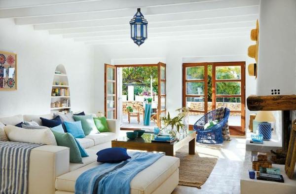 Mediterrane Einrichtungsideen landhausstil möbel wohnzimmer