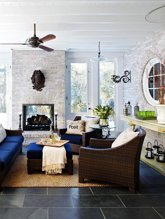 moderne Terrassengestaltung Ideen gartenmöbel set rattan kissen