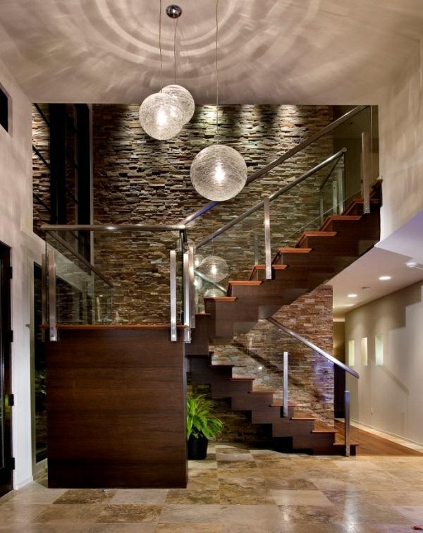 Natursteinwand Wohnzimmer wandgestaltung innen dunkel