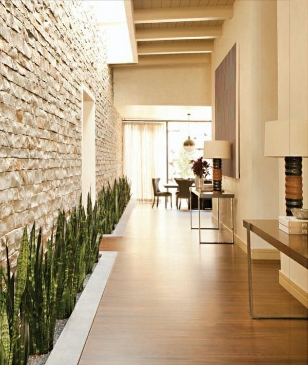 Natursteinwand Wohnzimmer wandgestaltung innen