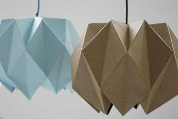 Lampenschirm Anleitung braun blau Origami
