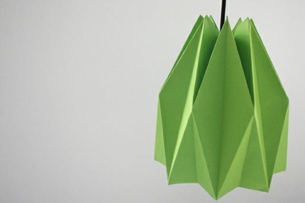 grün papier Origami Lampenschirm Anleitung schön