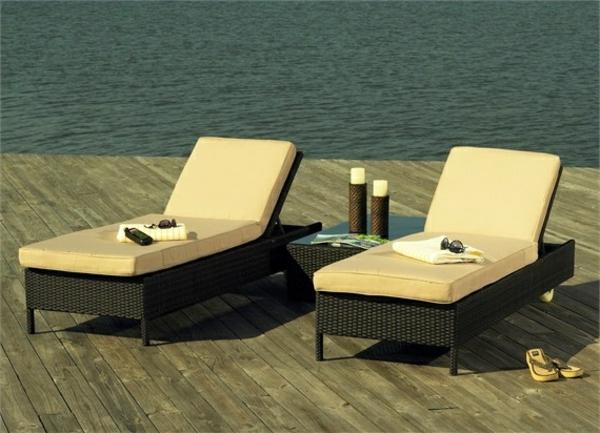 Outdoor Möbel aus Polyrattan gartenmöbel polyrattan liegen