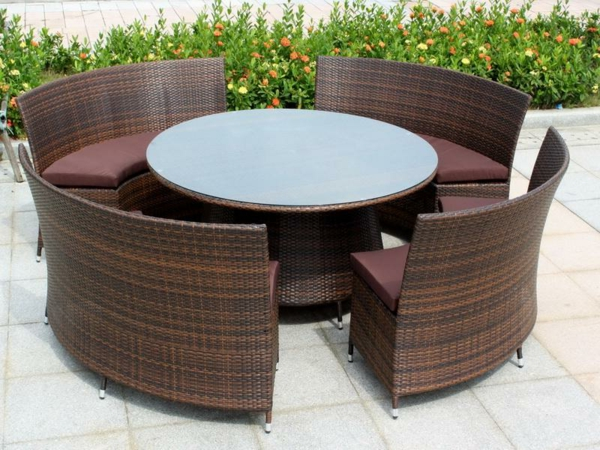 Outdoor Möbel aus Polyrattan lounge gartenmöbel rund tisch