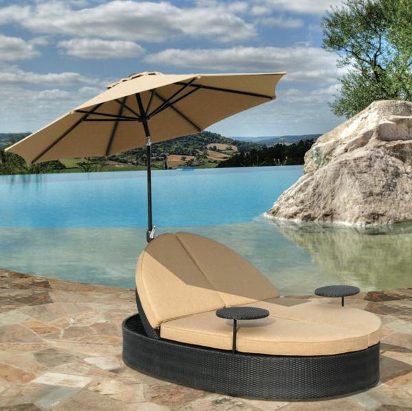 möbel Polyrattan lounge gartenmöbel sonnenschirm