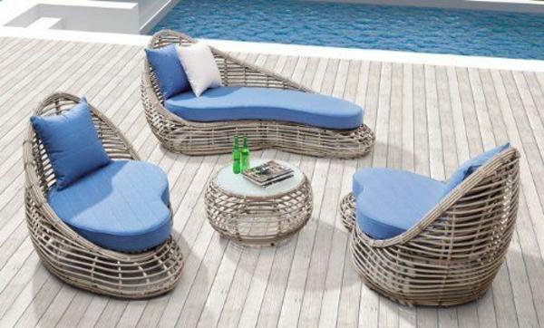blau bodenbelag Outdoor design Rattanmöbel  couchtisch