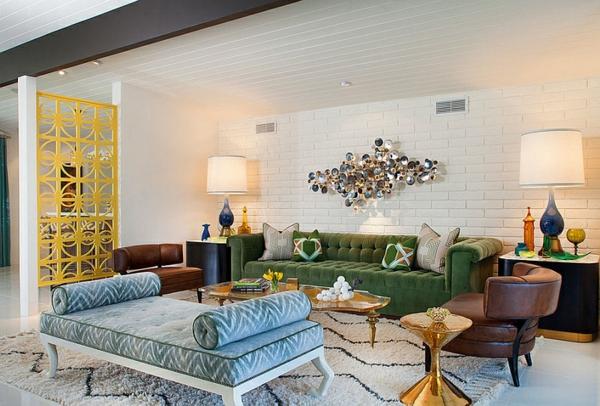 Sofas und Couches trennwand metall gelb aufteiler ruhebett