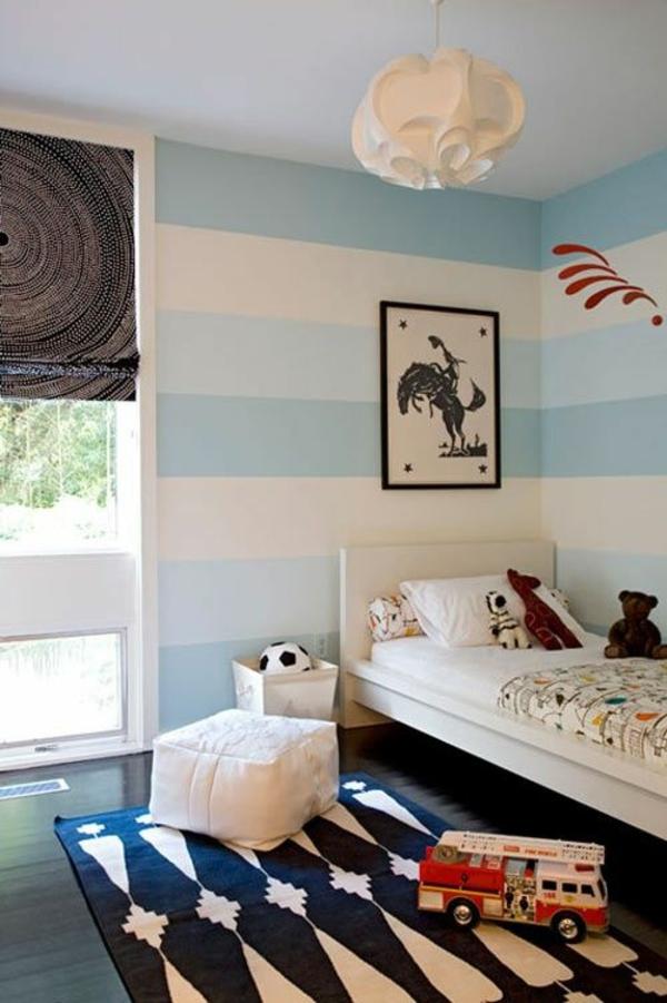 Wände Streichideen streifen blau weiß farbgestaltung