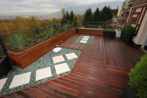 Terrassenboden aus Teakholz dunkle textur