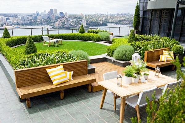 Terrassenboden aus Teakholz esstisch
