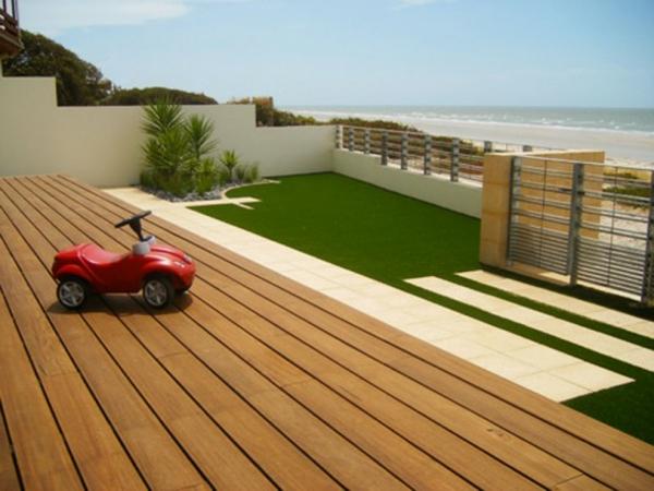 Terrassenboden aus Teakholz minimalistisch