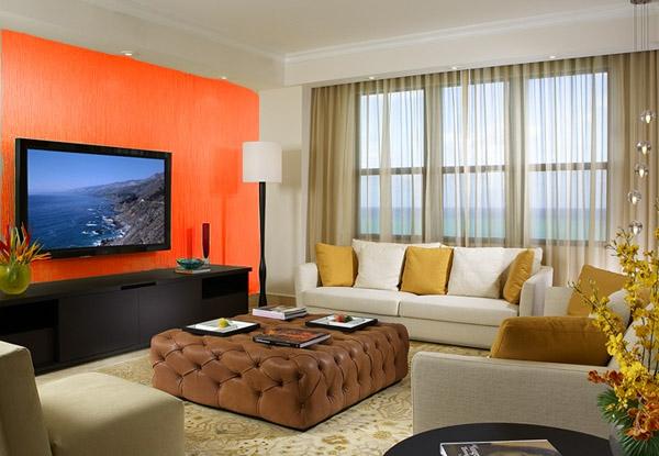 Wände streichen Farbideen für orange Wandgestaltung fenster