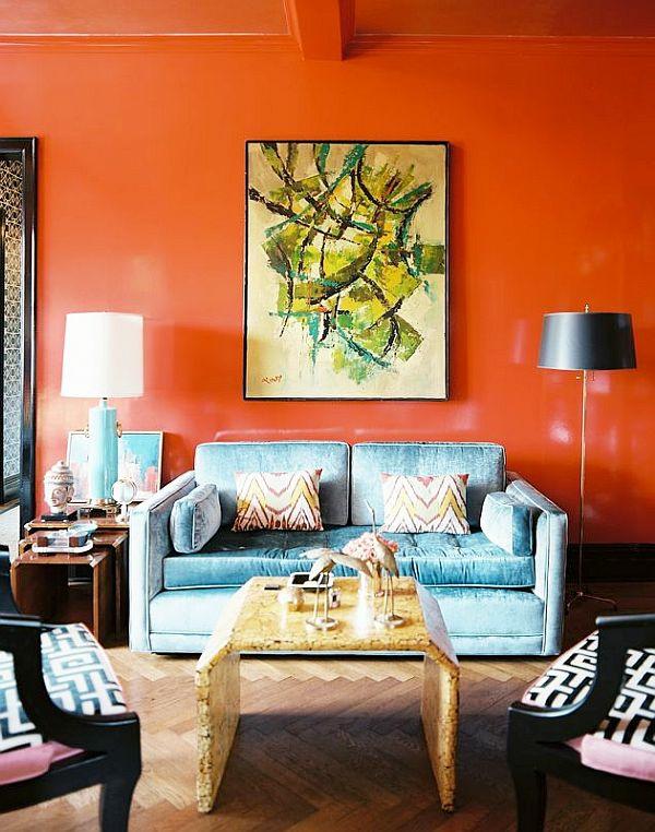 Wände streichen Farbideen für orange Wandgestaltung gemälde