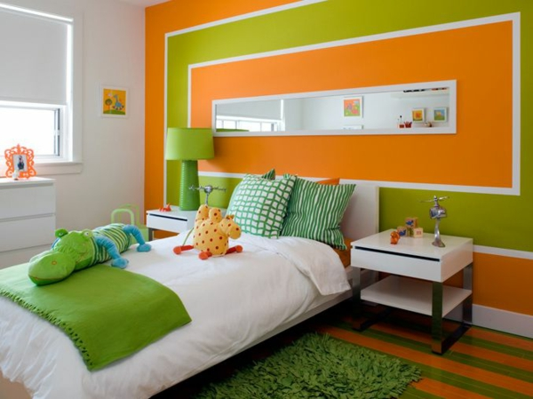 wände streichen - farbideen für orange wandgestaltung - Wohnzimmer Orange Grun