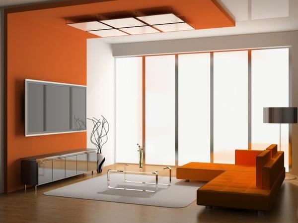 Wände streichen Farbideen für orange Wandgestaltung groß fenster