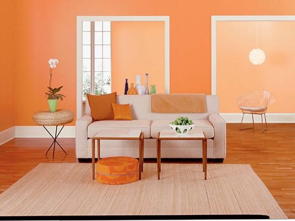 Wände Streichen Farbideen Für Orange Wandgestaltung Linien