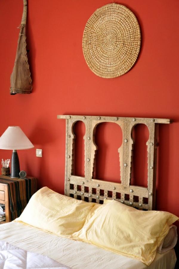 Wände Farbideen für orange Wandgestaltung schlafzimmerwand
