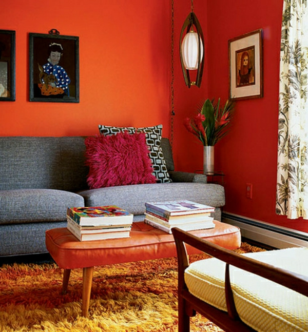 Coral Colored Living Room And Sofa