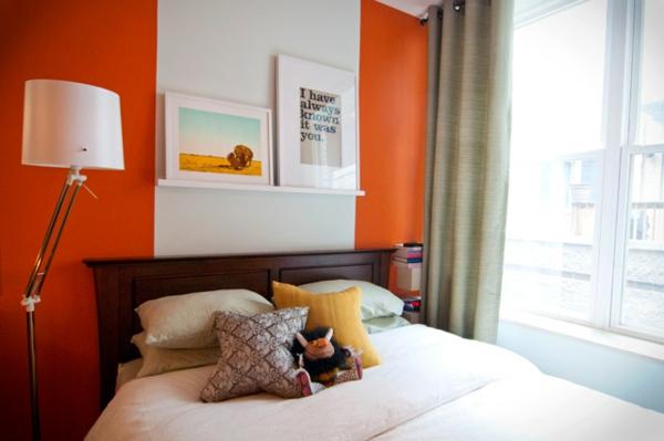 Wände Farbideen für orange Wandgestaltung stehlampe