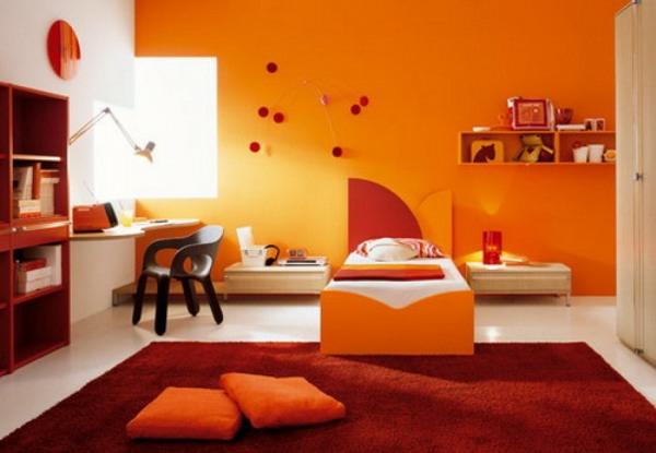 Wände streichen Farbideen für orange Wandgestaltung sticker