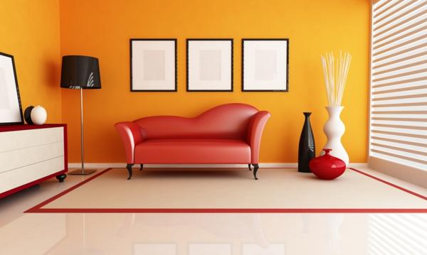 Wände streichen Farbideen für orange Wandgestaltung virtuell