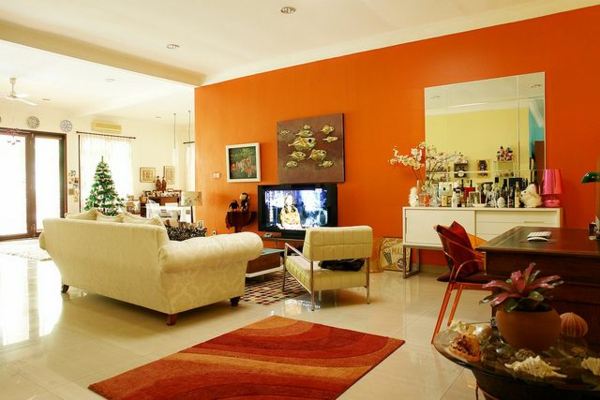 emejing orange wand wohnzimmer photos - house design ideas ... - Orange Wand Wohnzimmer