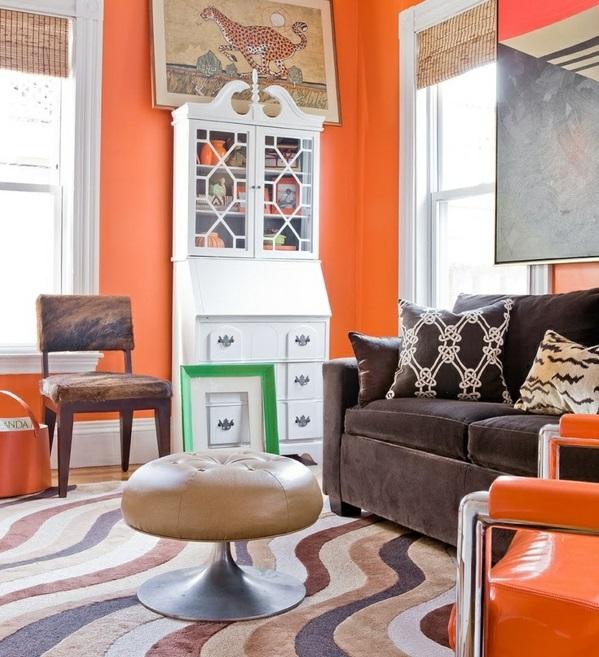 Farbideen Für Wohnzimmer: Farbideen Für Orange Wandgestaltung