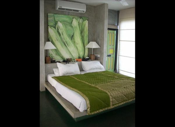 Wandfarbe in Grüntönen art bananen