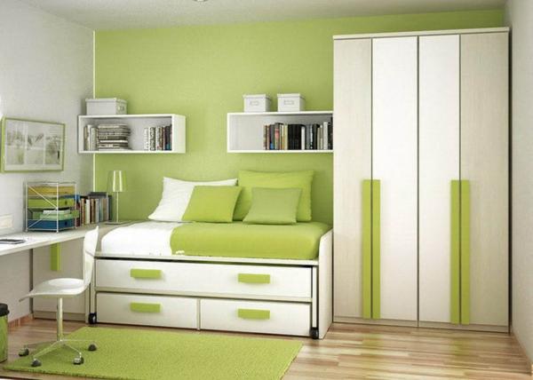 Wandfarbe in Grüntönen ausziehbett schubladen