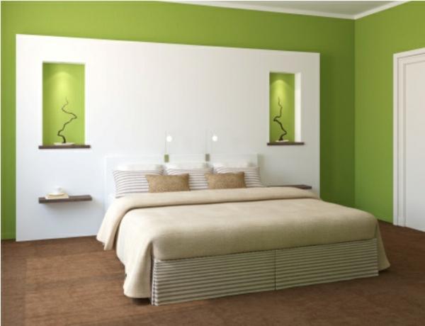 Schlafzimmer Blau Mit Quin Bett Aus Braunem Samt Spiegel Im, Schlafzimmer  Entwurf
