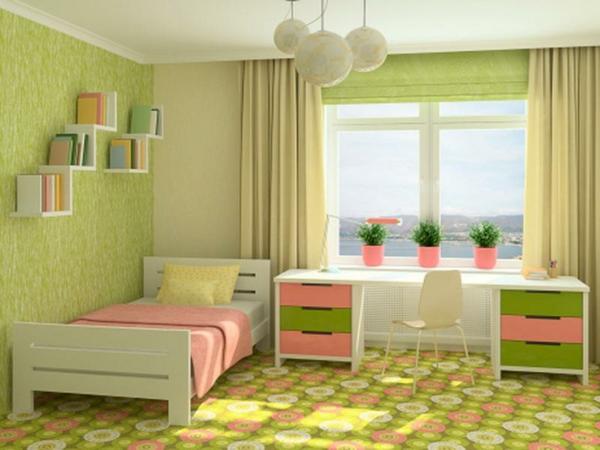 Wandfarbe in Grüntönen fenster bürotisch bett